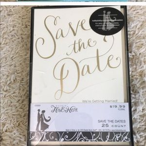 his and hers Party Supplies - Ivory and gold save the dates